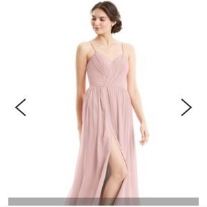 Dusty rose Cora Azazie bridesmaids dress